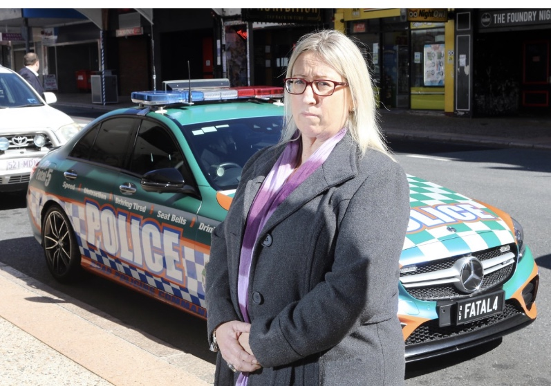 Judy Lindsay with one of the Fatal 5 CARS at Press Release
